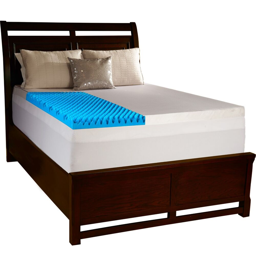 Beautyrest 4 Inch Sculpted Gel Memory Foam Mattress Topper Pad W Polysilk Cover Ebay