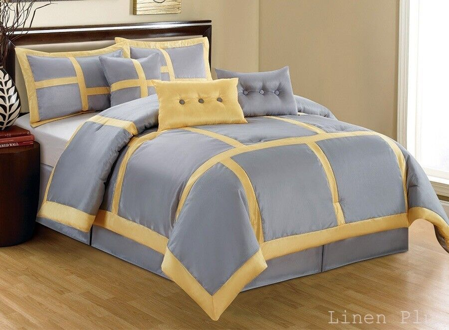 15 piece yellow gray patchwork comforter curtain set king size ebay. Black Bedroom Furniture Sets. Home Design Ideas