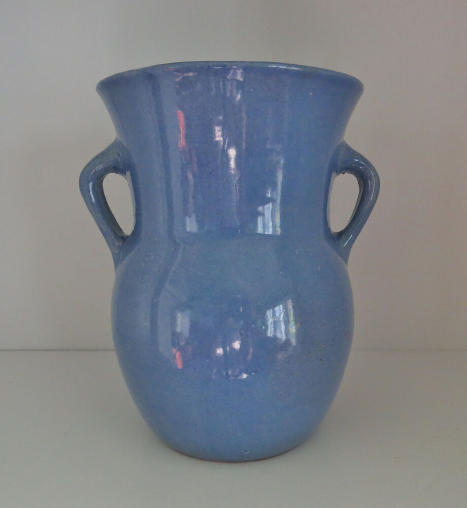 Vintage Periwinkle Blue Stoneware Pottery Two Handled Vase 8 Quot Tall Vgc Ebay
