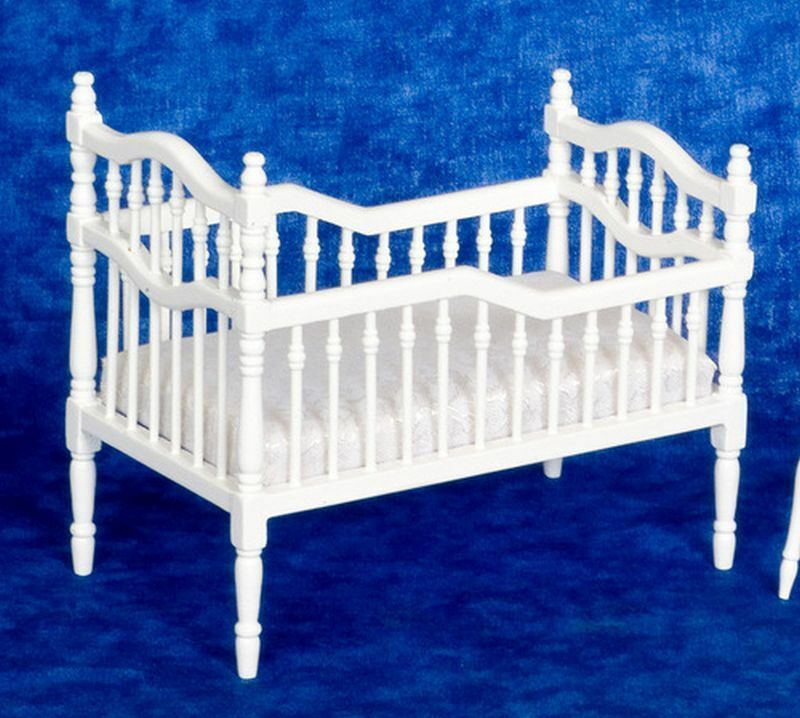 dollhouse miniature victorian white wood crib ebay miniature wire garden furniture