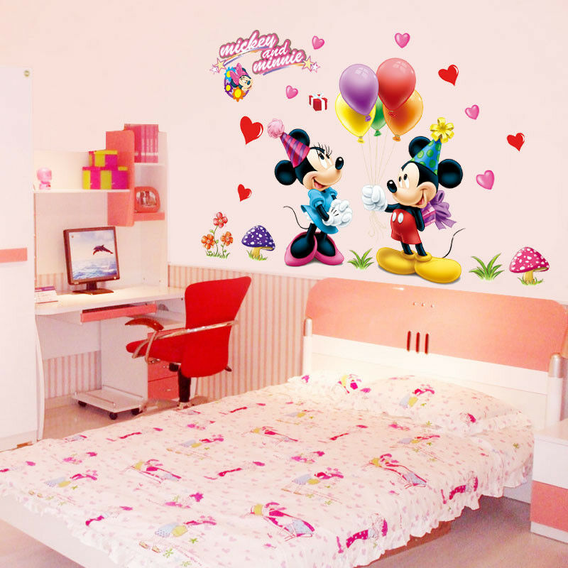 mickey minnie mouse disney girls gift kids room wall. Black Bedroom Furniture Sets. Home Design Ideas