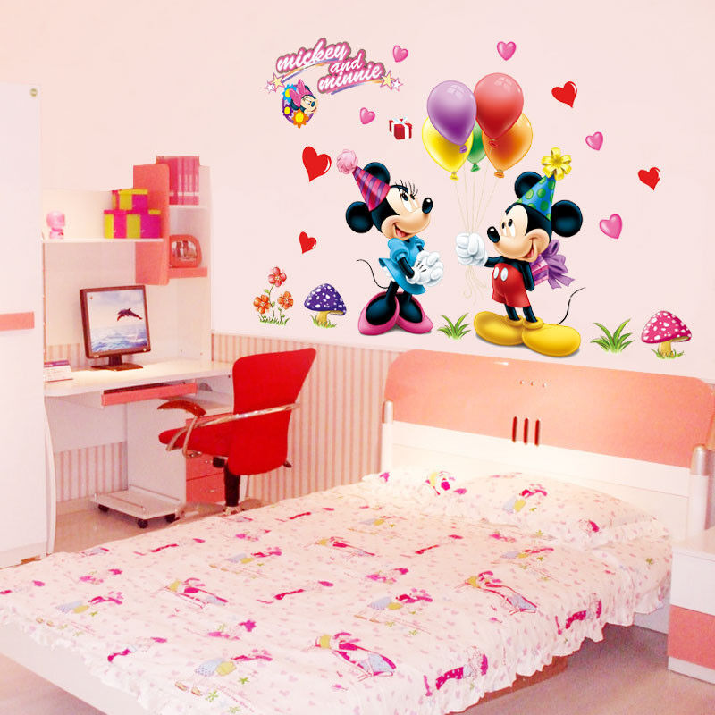 mickey minnie mouse disney girls gift kids room wall sticker wall decals cartoon ebay. Black Bedroom Furniture Sets. Home Design Ideas