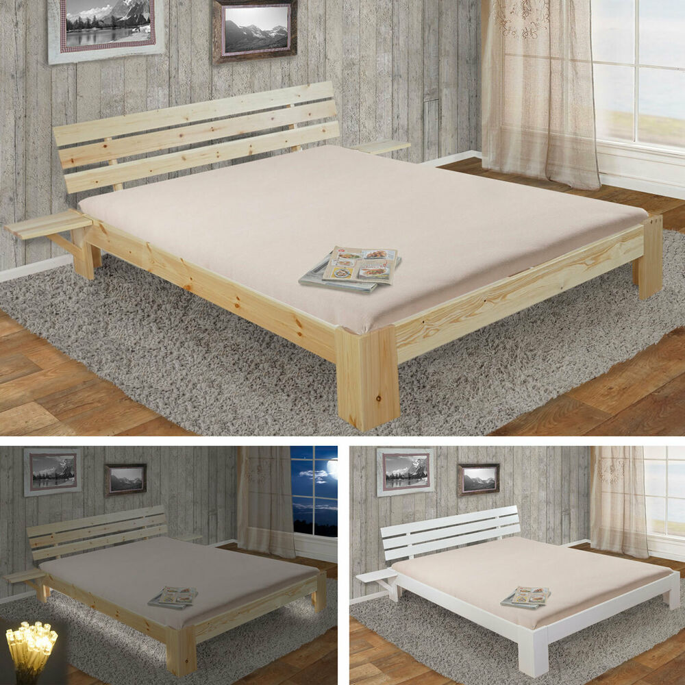 bett perth doppelbett massivholz incl lattenrost ablage 140cm 160cm 180cm ebay. Black Bedroom Furniture Sets. Home Design Ideas