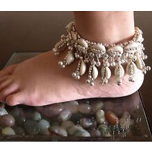 Pair Cowrie Sea Shell Anklet Bracelet Ankle Bare Foot Jewelry Boho Gypsy Hippie