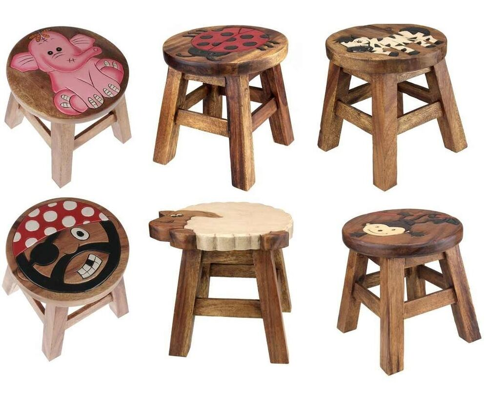 Wooden Animal Design Foot Step Stool Brown Wood Kids Chair