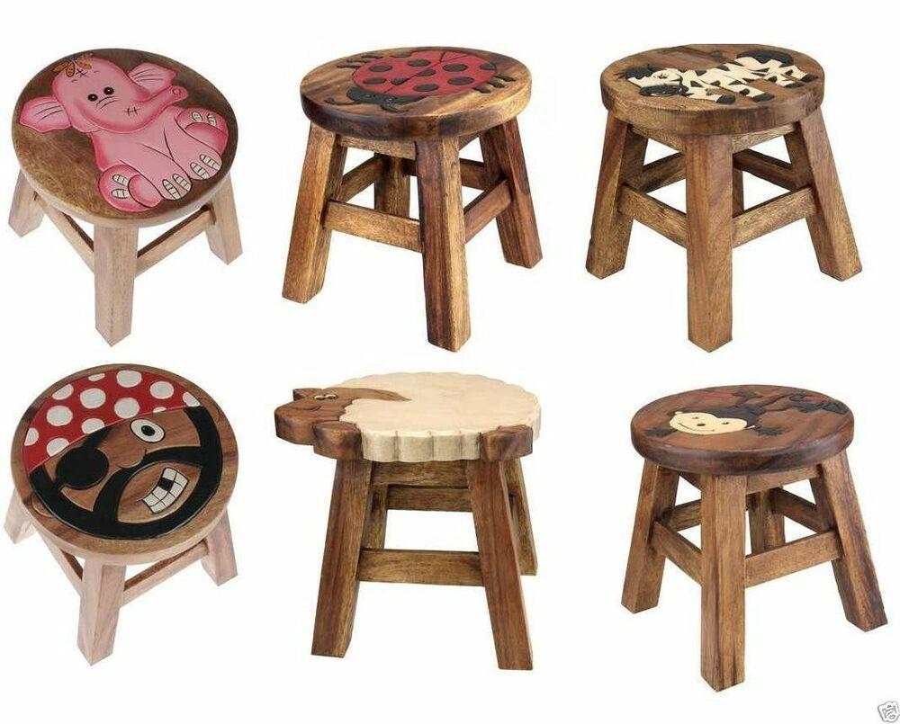 Kids Wooden Step Stool Brown Solid Wood Chair Seat Hand
