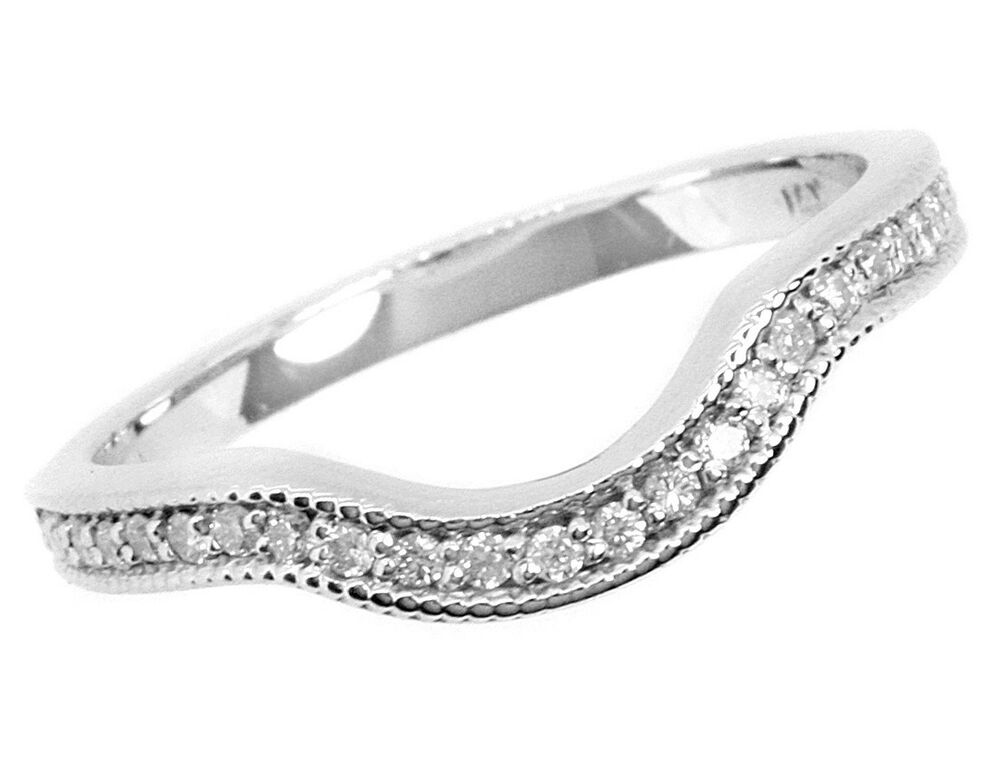 diamond wedding band curved ring 14k white gold milgrain ebay