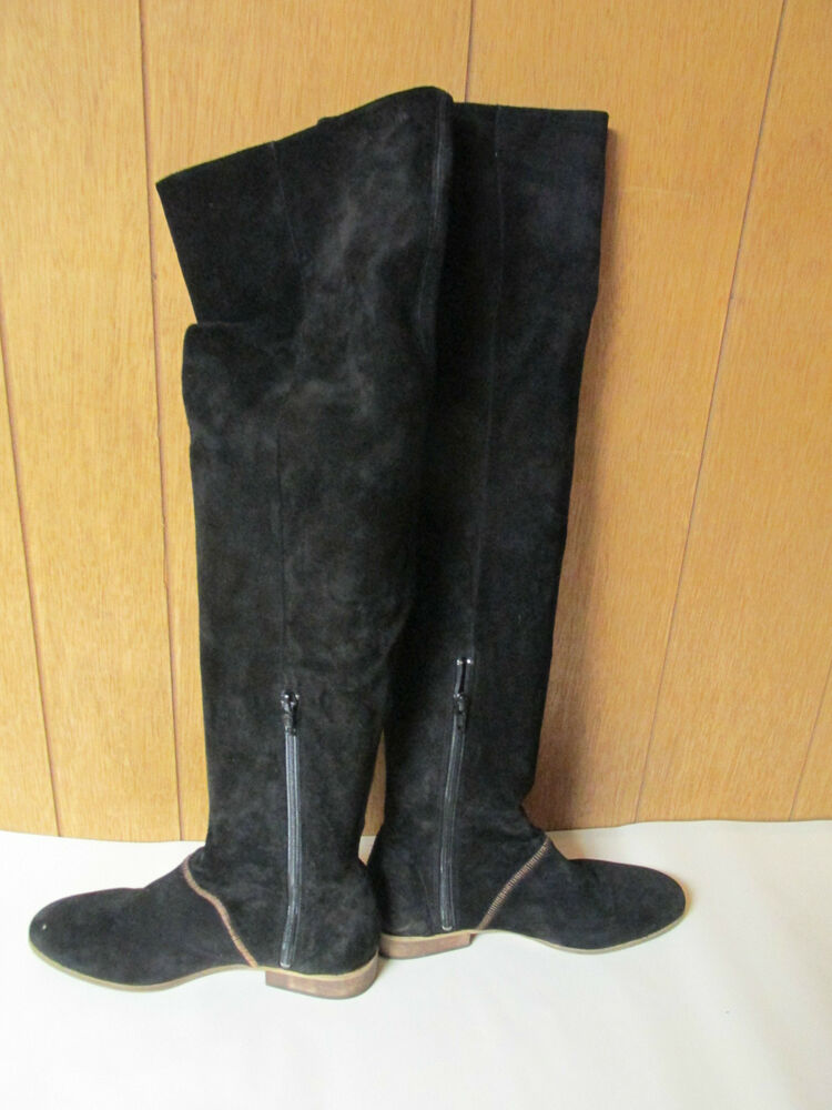 free grandeur black suede the knee boots size