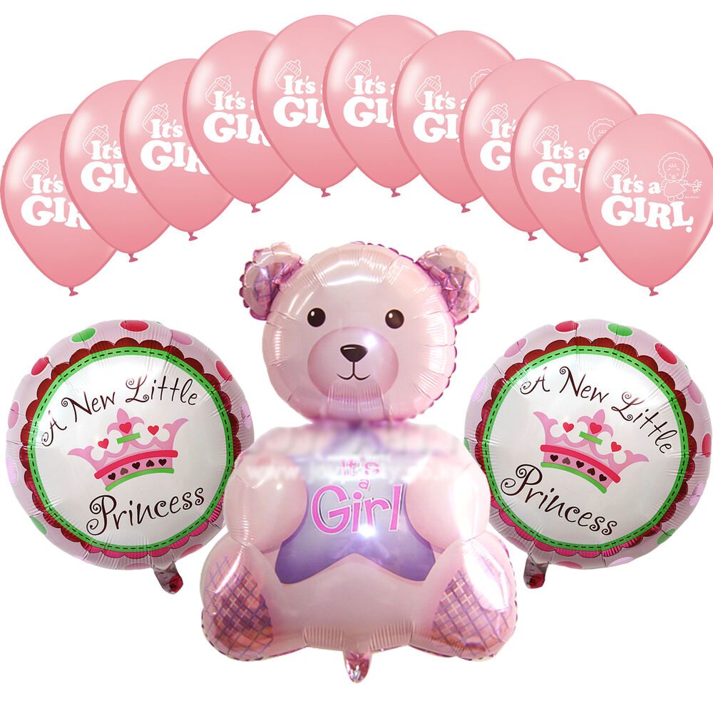 Pink Teddy Bear Baby Shower: Baby Shower Party Pink Princess Decorations Foil Balloons
