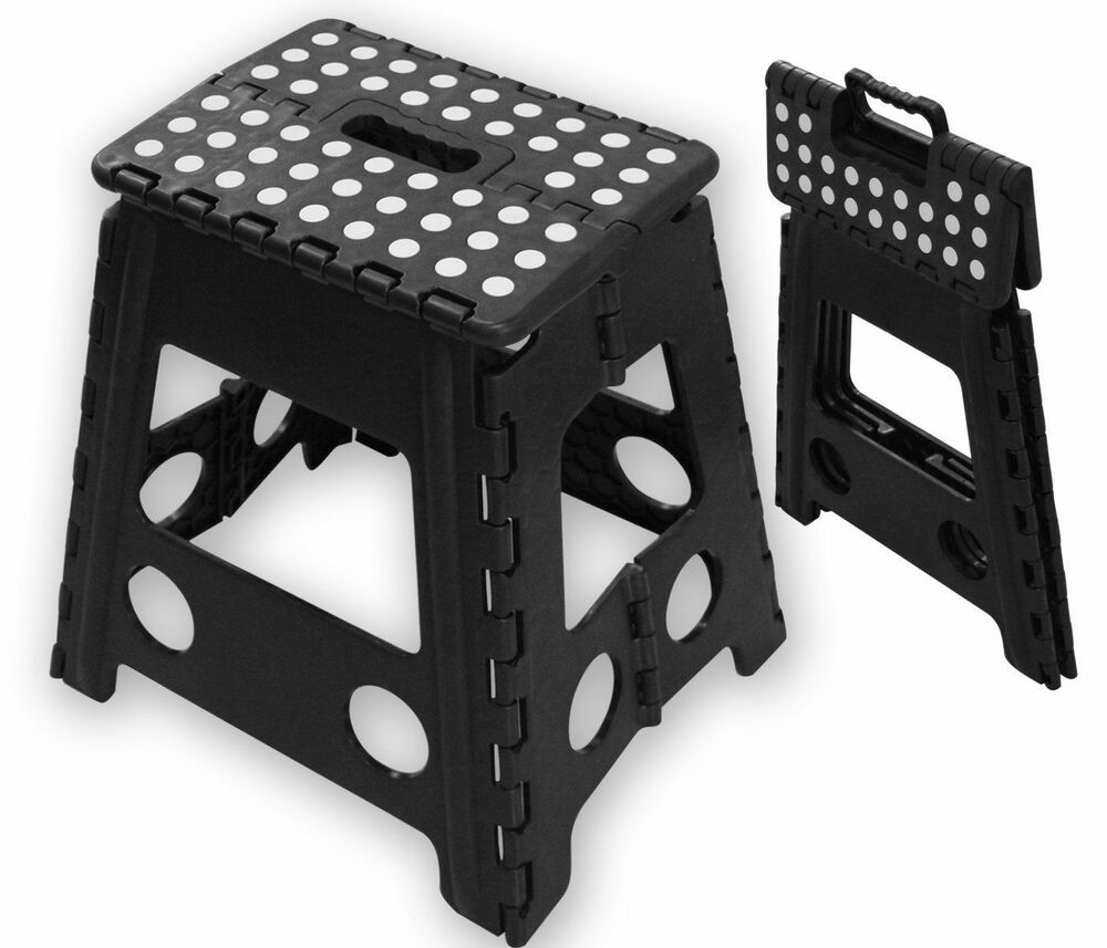 Folding Handy Step Stool Kitchen Bathroom Storage Collapsible Multipurpose Black Ebay