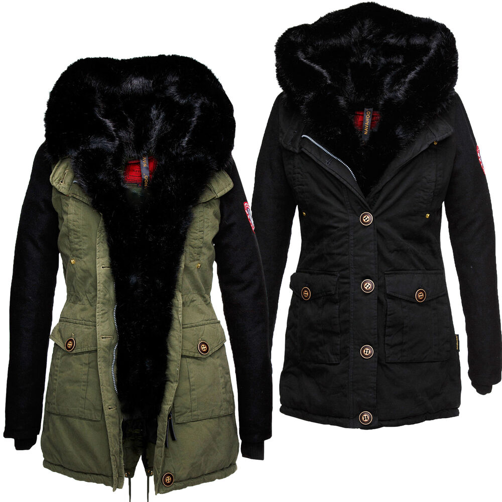 navahoo damen jacke charisma designer jacke mantel parka winter fellkragen lang ebay. Black Bedroom Furniture Sets. Home Design Ideas