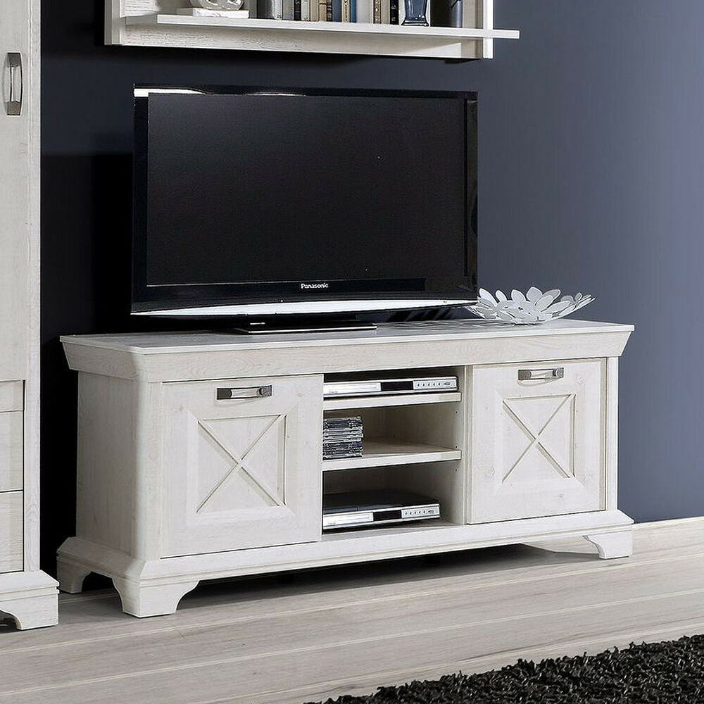tv board 2 kashmir lowboard tv unterschrank fernsehschrank in pinie wei ebay. Black Bedroom Furniture Sets. Home Design Ideas