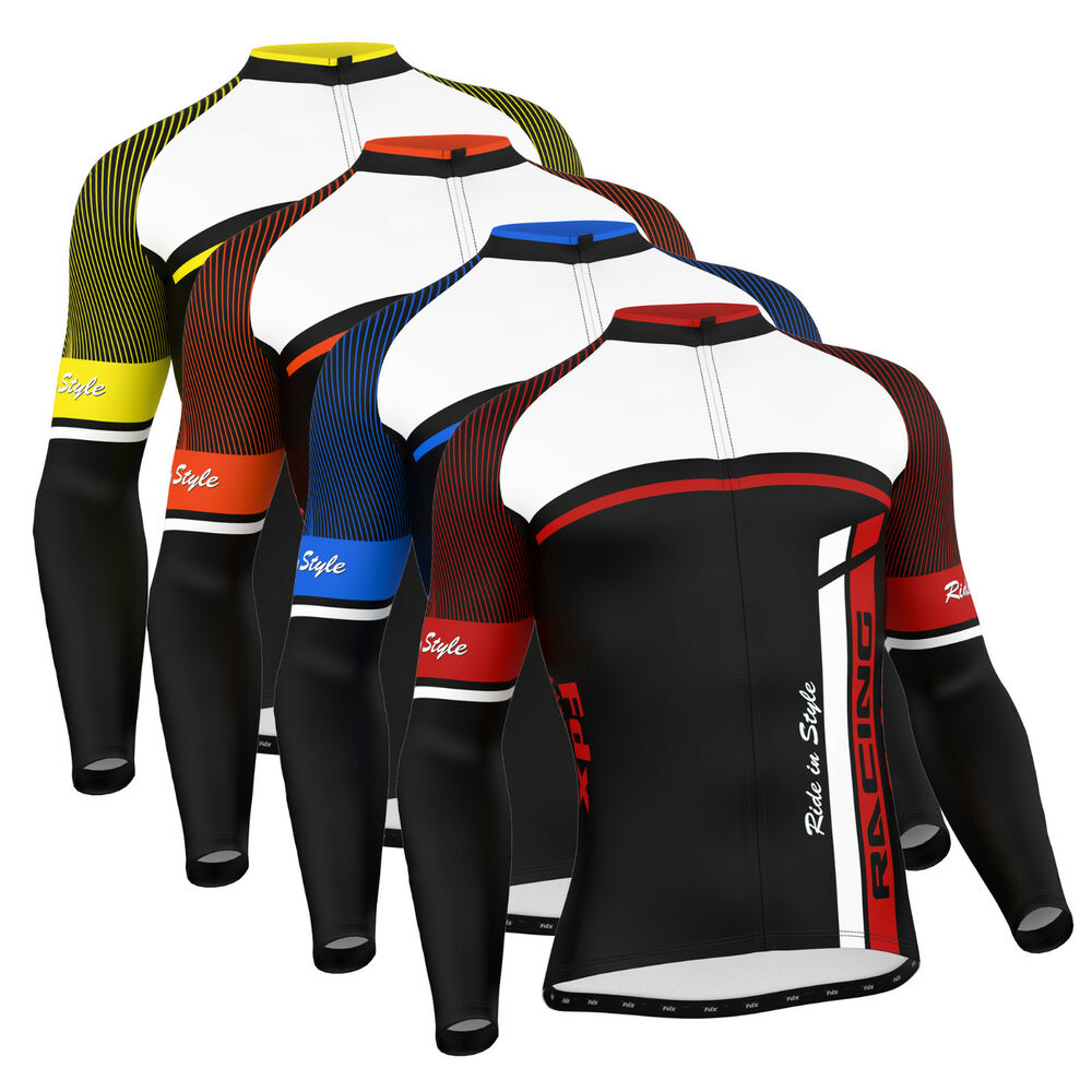 FDX Mens Cycling Jersey Long sleeve Winter Thermal Cold ...
