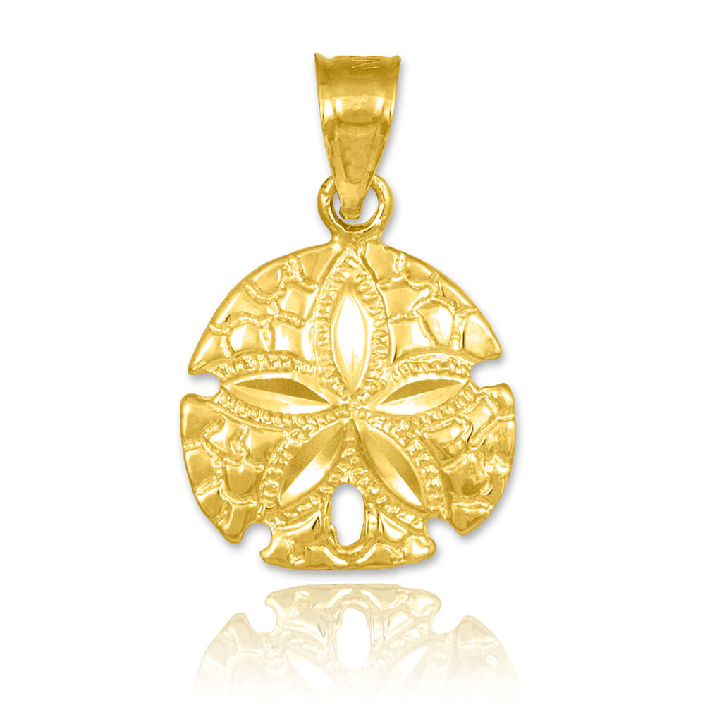 Polished gold sand dollar charm pendant ebay for What is gold polished jewelry