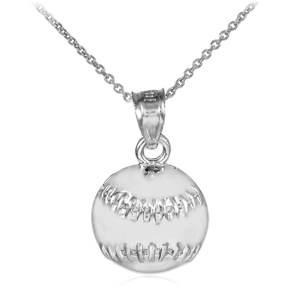Silver baseball softball charm sports pendant necklace ebay for Sell gold jewelry seattle