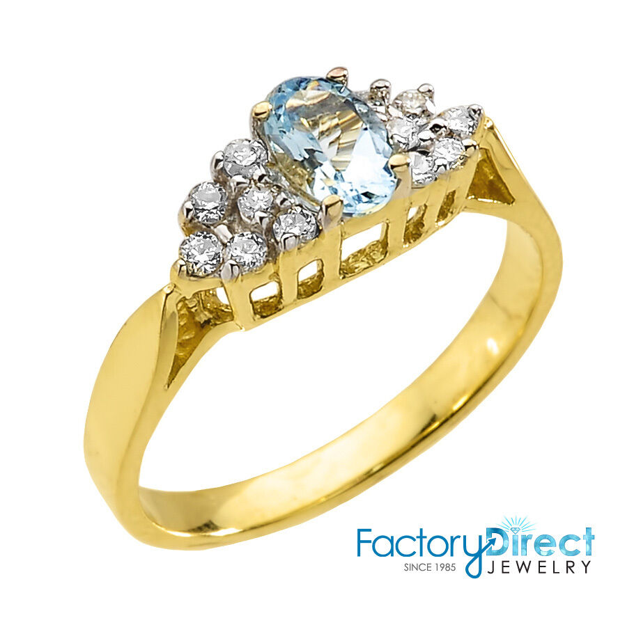 10k Gold Aquamarine and Diamond Proposal Ladies Ring | eBay