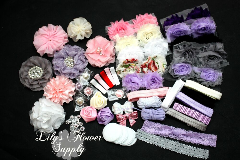 baby shower headband kit deluxe diy hair bow headband kit ebay. Black Bedroom Furniture Sets. Home Design Ideas