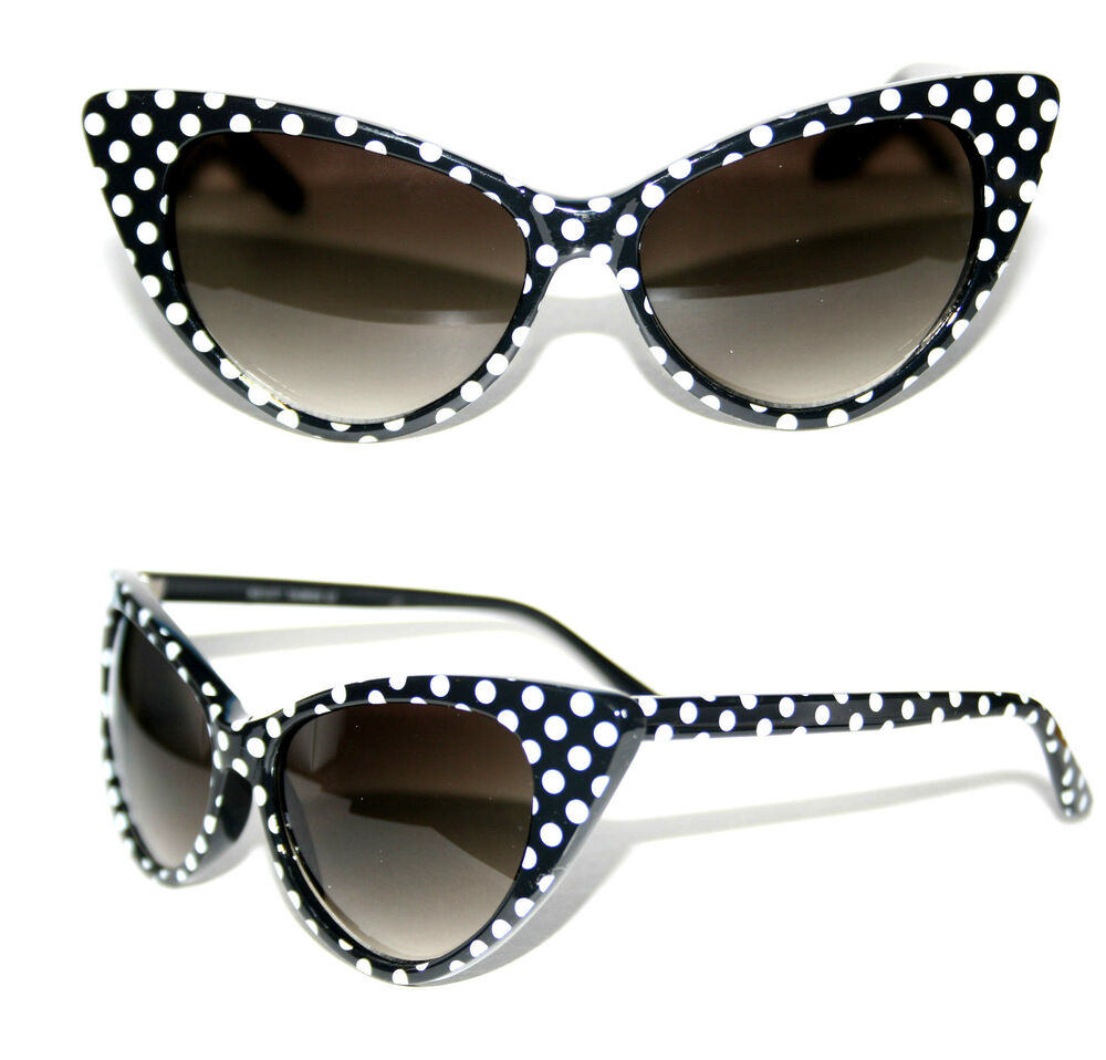 Cat Eye 50's Vintage Sunglasses Polka Dots Black White