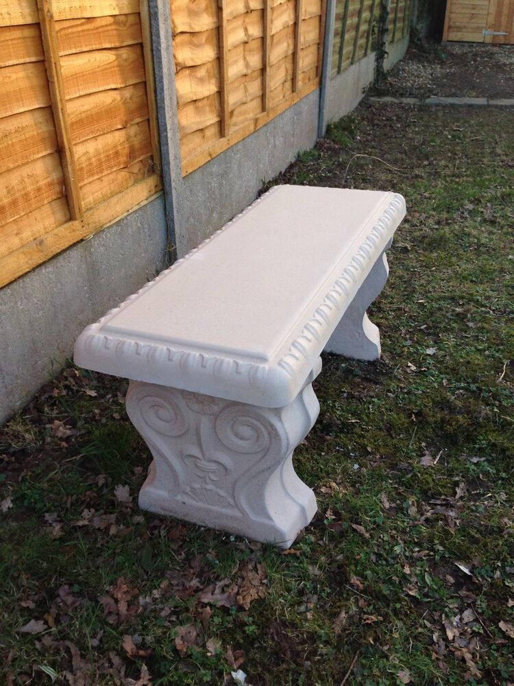 Stone Concrete Scroll Garden Bench Seat Patio Furniture Ebay