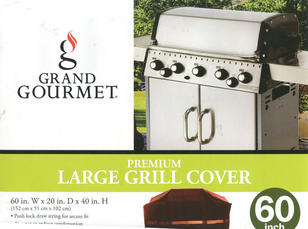 grand gourmet premium large grill cover 60 w 20 d 40 h red black new ebay. Black Bedroom Furniture Sets. Home Design Ideas