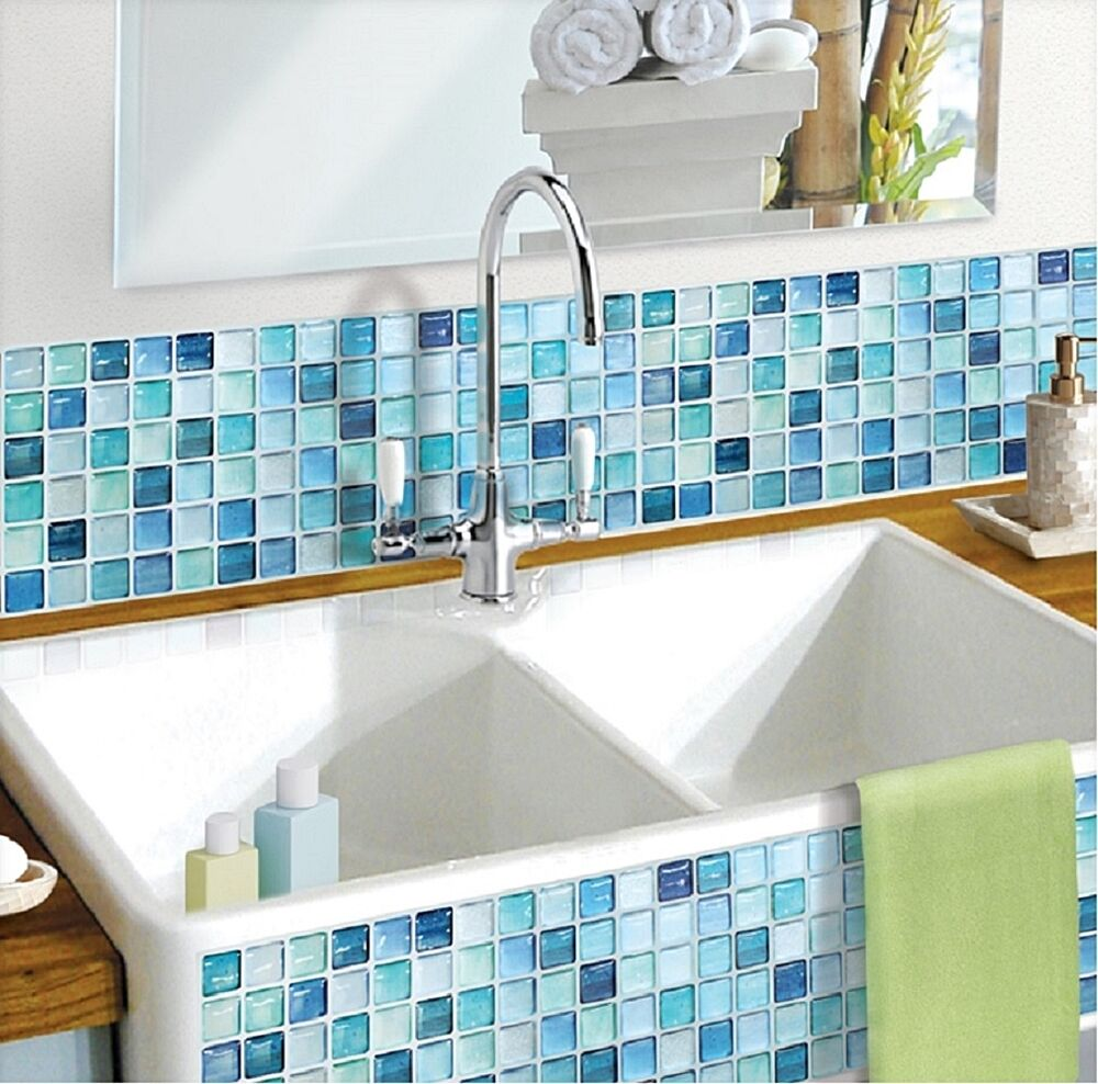 Home Bathroom Kitchen Wall Decor 3D Stickers Wallpaper Art Tile NBlue  Backsplash 8804219000248 | EBay