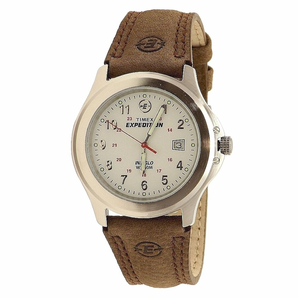 Timex Men's Expedition Metal Field T443819J Indiglo Silver/Brown Analog Watch 48148443815 | eBay