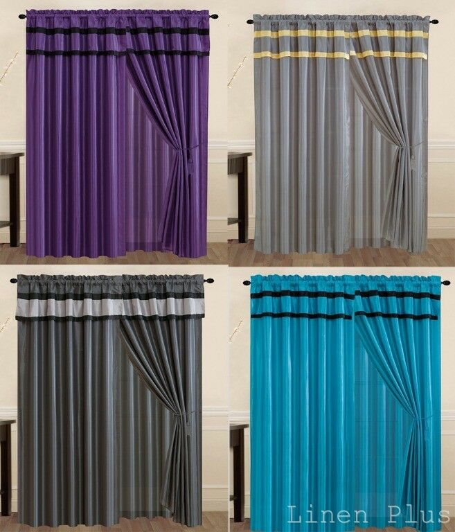 New Black Gray Turquoise Purple Yellow Curtain Panel