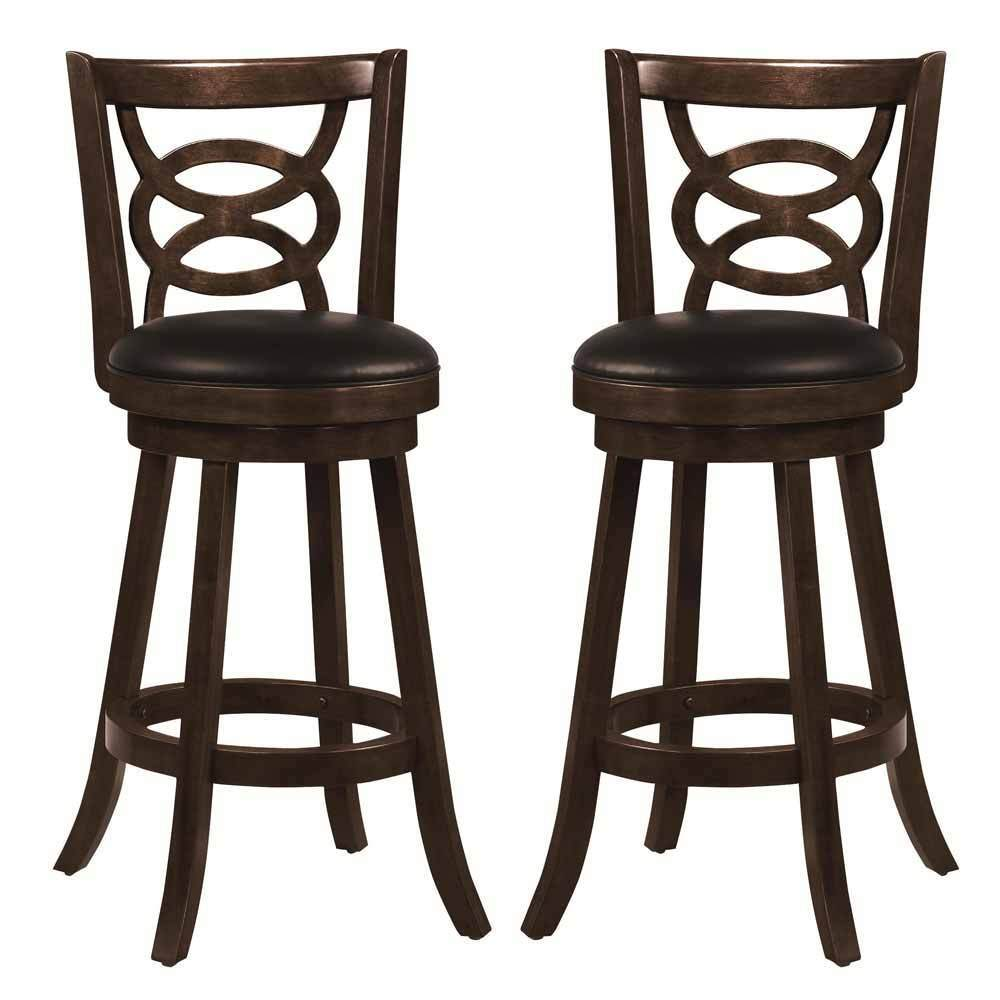 Swivel Wood Dining Chairs 29quotH Bar Stool Set of 2 Espresso  : s l1000 from www.ebay.com size 1000 x 1000 jpeg 58kB