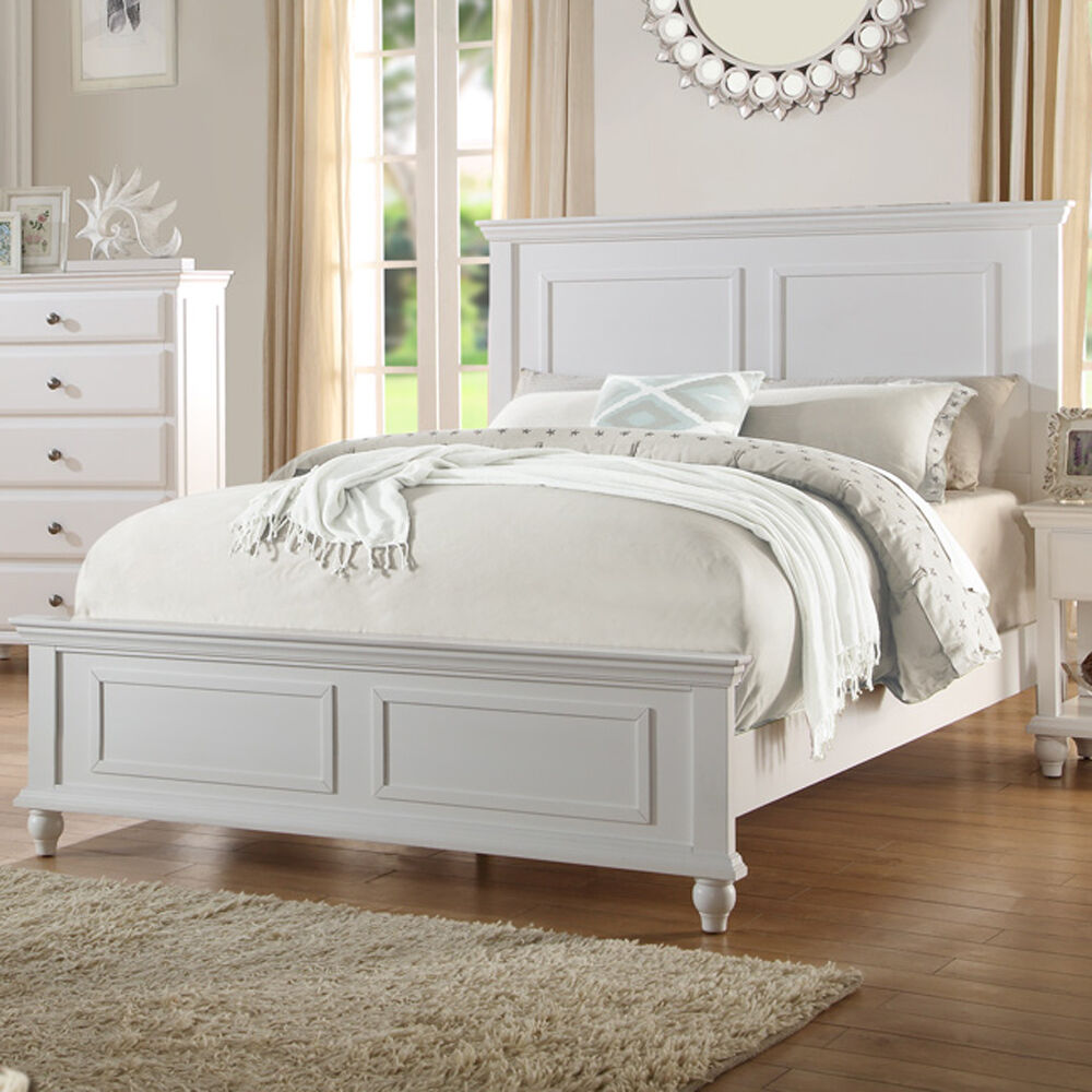 White Wood Bed ~ Bedroom white wood bed frame headboard footboard