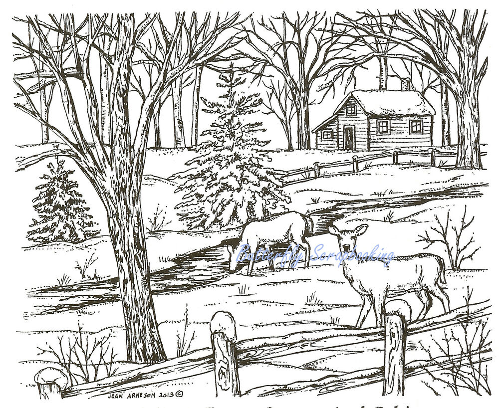 Log Cabin Stream Coloring Pages Printable Log Best Free