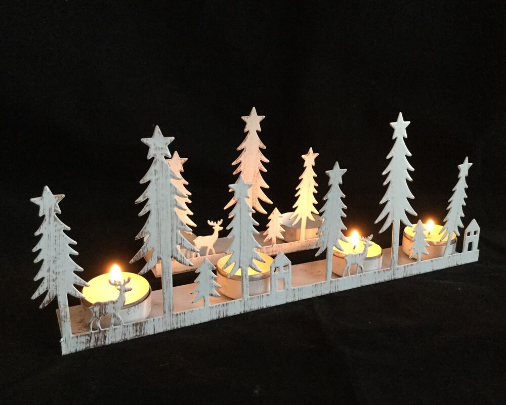 Christmas Snow Scene Reindeer Candle Holder Tea Light