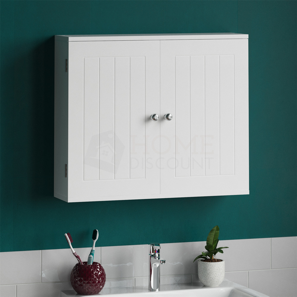 Bathroom Wall Cabinet Double Door Storage Cupboard Wooden