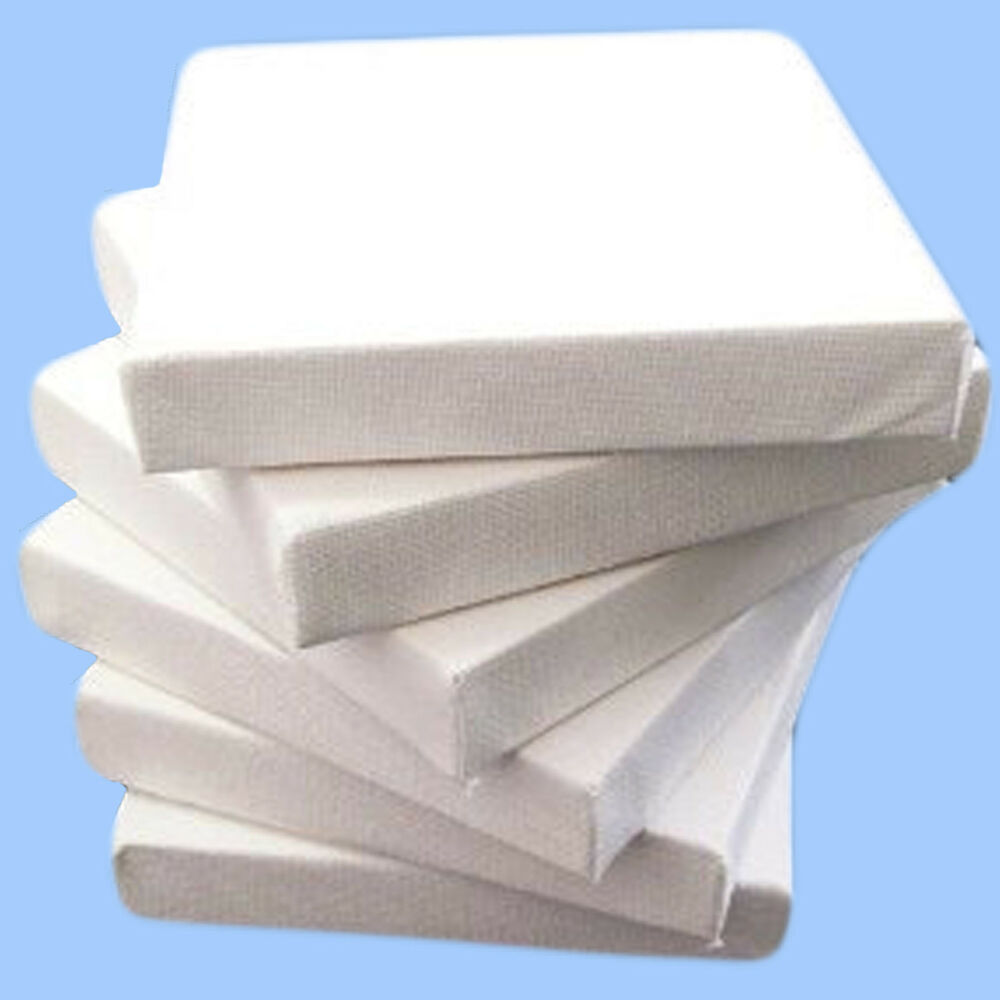 40x plain small 7cm square canvas art class bulk pack for Small canvas boards