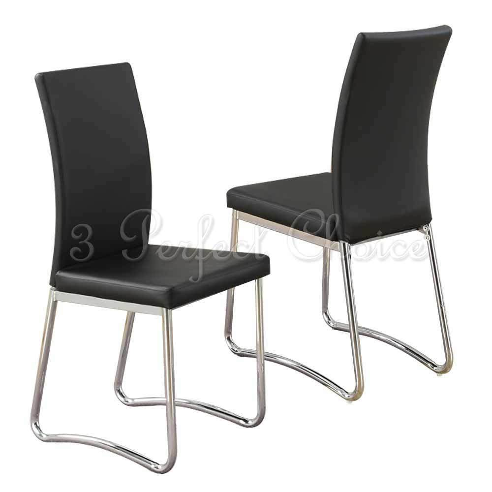 Modern 2 pc black faux leather upholstered dining side for Upholstered dining chairs contemporary