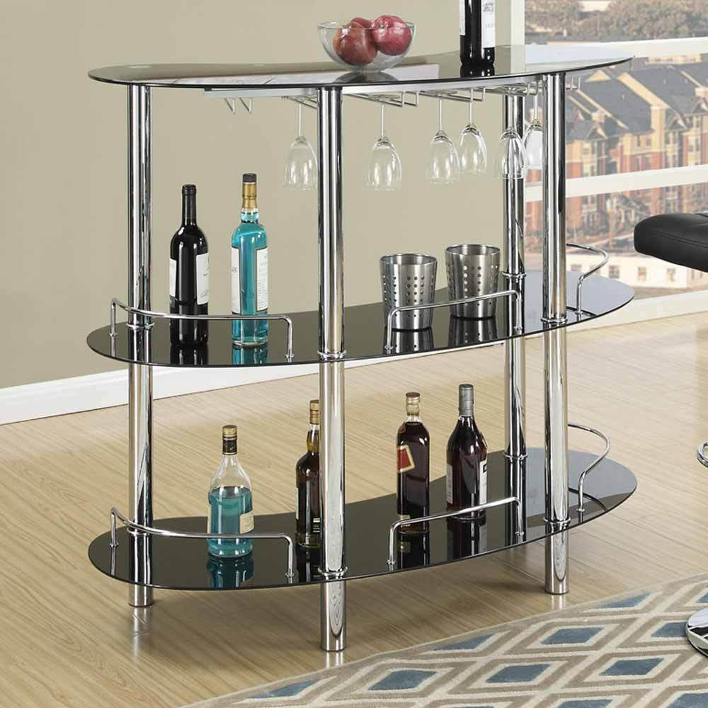 Contemporary Home Bar Table Stand Black Glass Shelf Wine