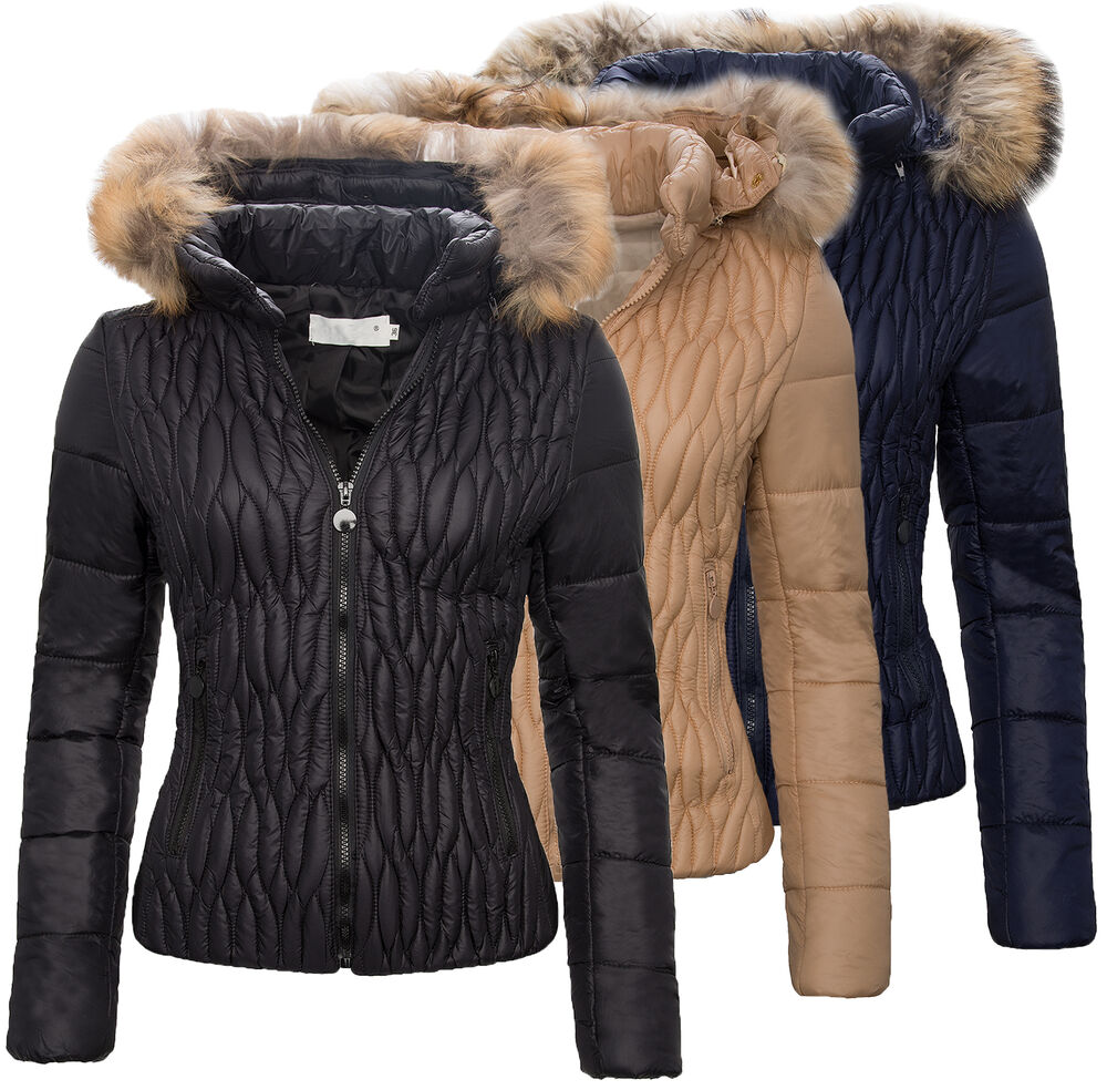 damen stepp jacke winter kapuze mit echt pelz damenjacke kurz neu s xl d 82 ebay. Black Bedroom Furniture Sets. Home Design Ideas