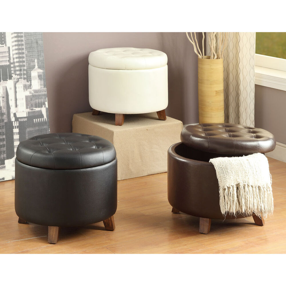 white black brown removable top pu leather upholstery round storage ottoman ebay. Black Bedroom Furniture Sets. Home Design Ideas
