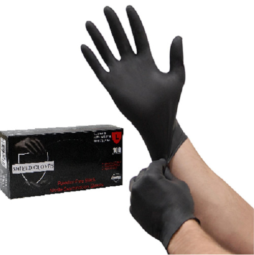 100 Shield Nitrile 5mil Powder Free Gloves Black Latex