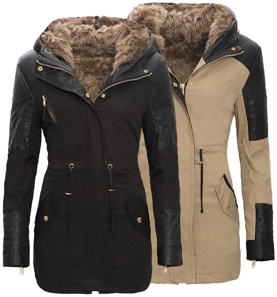 warme damen winter parka jacke langer mantel winterjacke fell kragen s xxl d 88 ebay. Black Bedroom Furniture Sets. Home Design Ideas