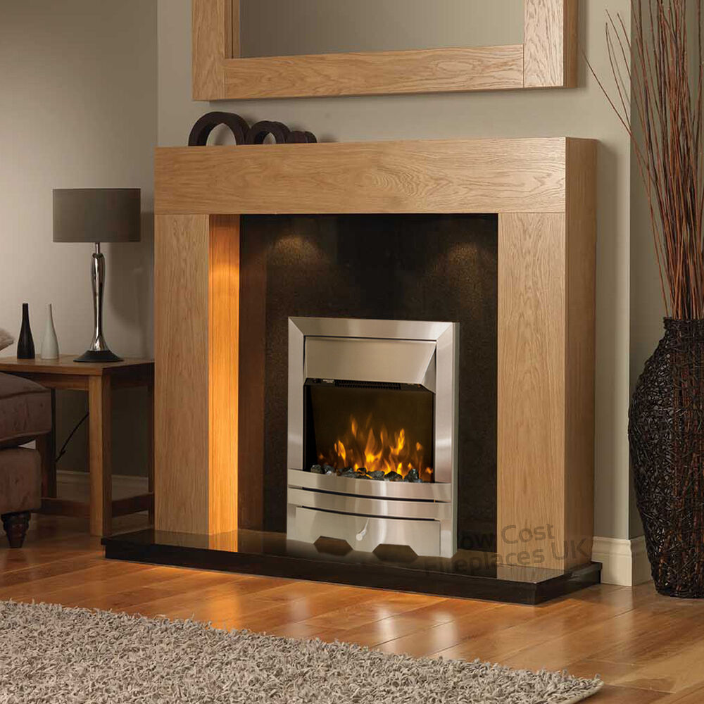 ELECTRIC OAK SURROUND SILVER BLACK GRANITE STONE FIREPLACE