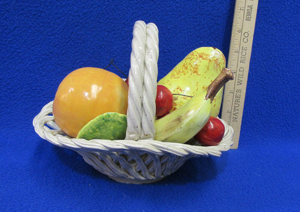 Italian Made Lattice Basket Of Fruit Centerpiece Pottery