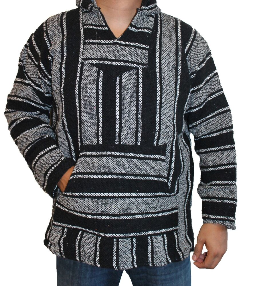 3XL Hoodie Baja Hippie Surfer Mexican Poncho Sweater Drug