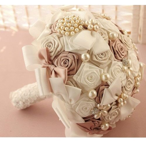 Handmade bridal wedding bouquet flower crystal preal silk rose lace brooch decor ebay - Flowers good luck bridal bouquet ...