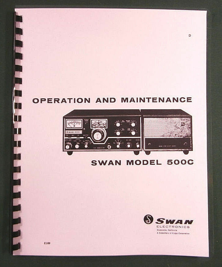 swan 500c operation manual 11 x 24 foldout schematic protective rh ebay com Swan 500C Tubes Top View