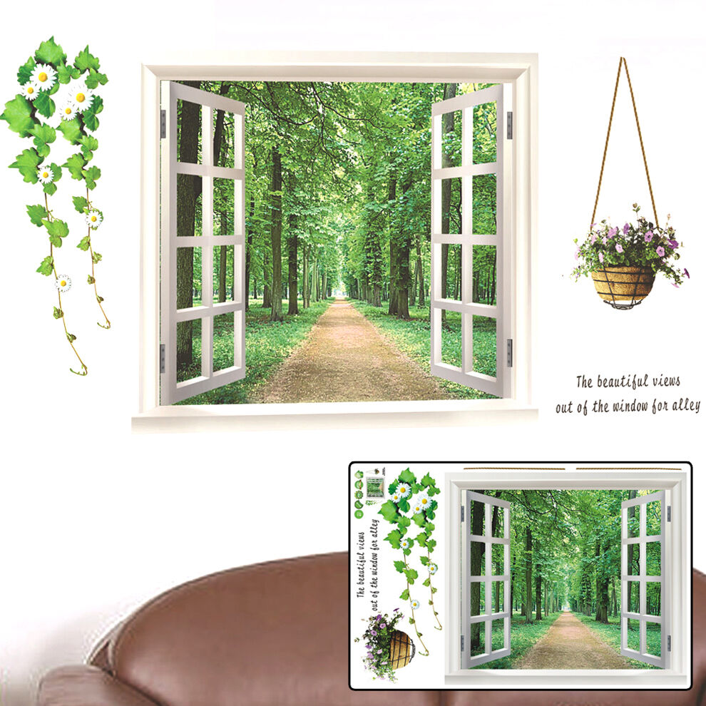 Home Decor Walls: Window View Tree Forest Removable Vinyl Decal Art Mural