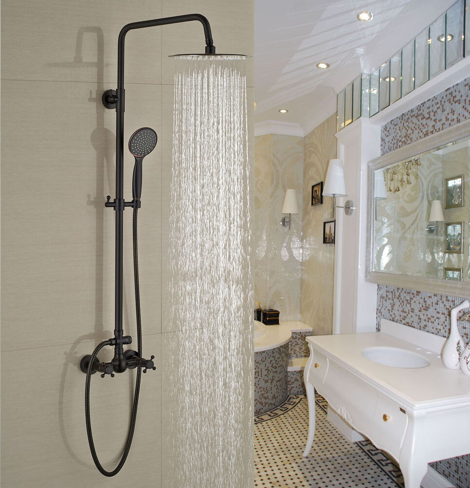 oil rubbed bronze bathroom shower set rainfall shower head hand sprayer ebay. Black Bedroom Furniture Sets. Home Design Ideas