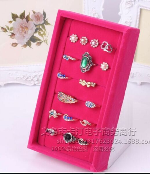 Wholesale Velvet Jewellery L 6 Rows Rings Display Stand Tray Case RT2 3pcs/£15
