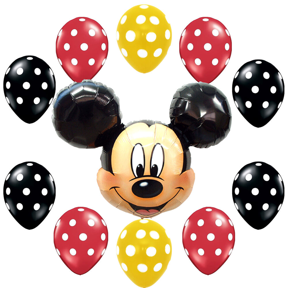 Birthday party supplies mickey mouse yellow black polka for Black and white polka dot decorations