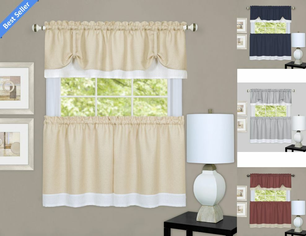 Darcy Tie Up Kitchen Curtain Tier Valance Set By Goodgram Assorted Colors Ebay