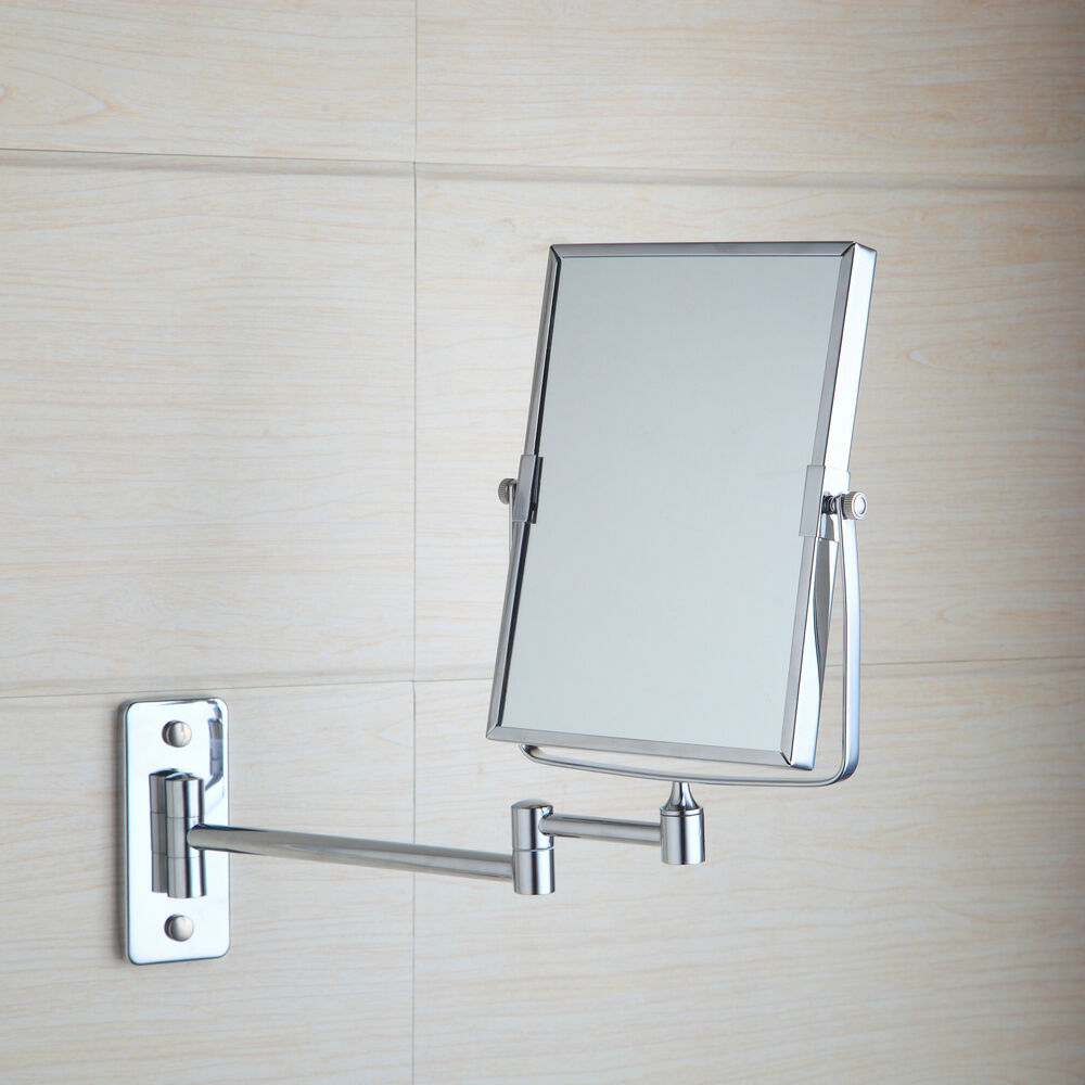 Square makeup cosmetic mirror double sided magnifying for Wall mounted mirror